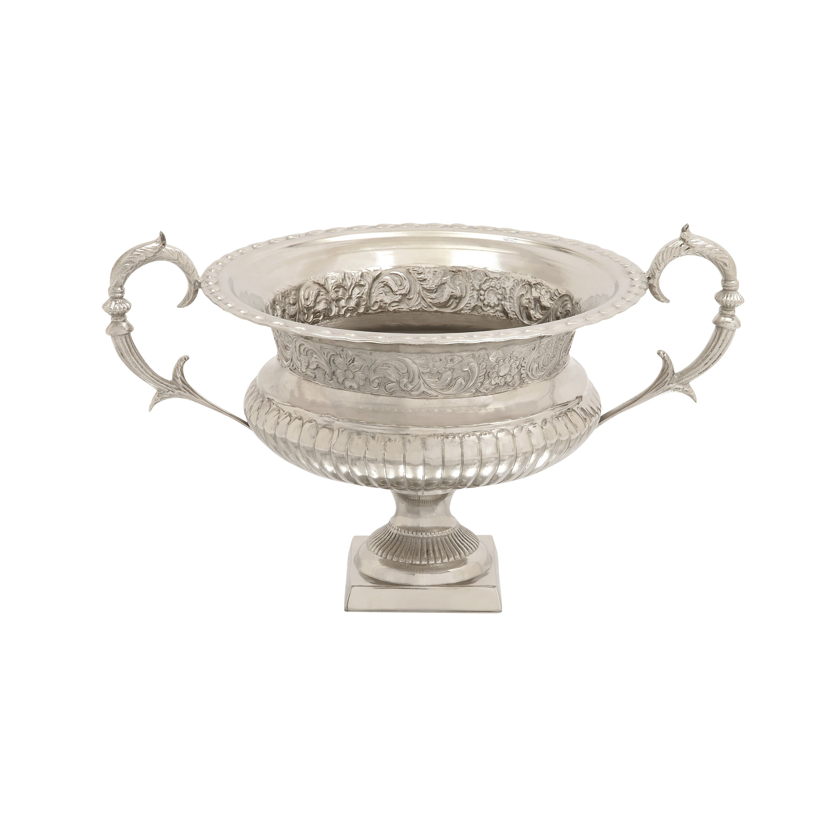 Benzara Aluminum Handle Urn 23-inch x 14-inch (Silver), Black (Acacia)