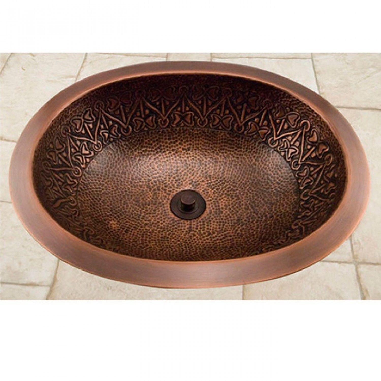 "19"" Almont Decorative Oval Hammered Copper Sink - Bathroom Sinks - Bathroom"
