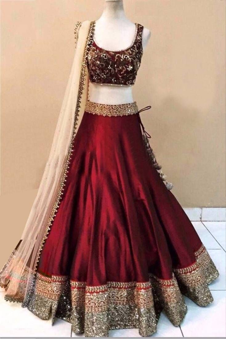 Maroon Banglori Silk Embroidered Lehenga Choli With Dupatta Designer Lehenga Choli Choli Designs Party Wear Lehenga