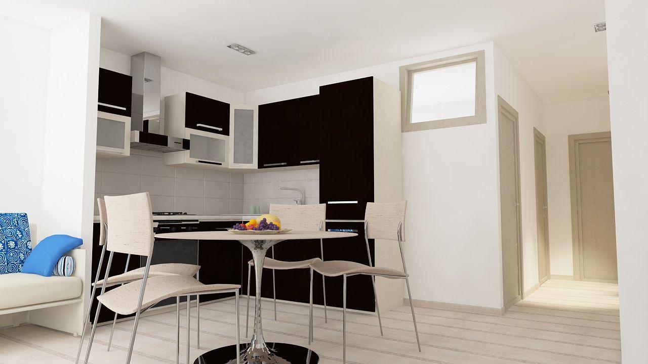 Luci soggiorno ~ Soggiorno con vista angolo cottura e corridoio con illuminazione