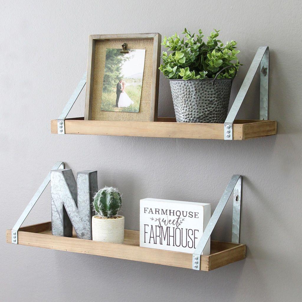 Stratton Home Decor Wood & Metal Wall Shelf 32 piece Set   Home ...