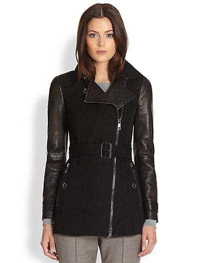 Leather-Sleeve Jacket $2495.0 by Saks Fifth Avenue