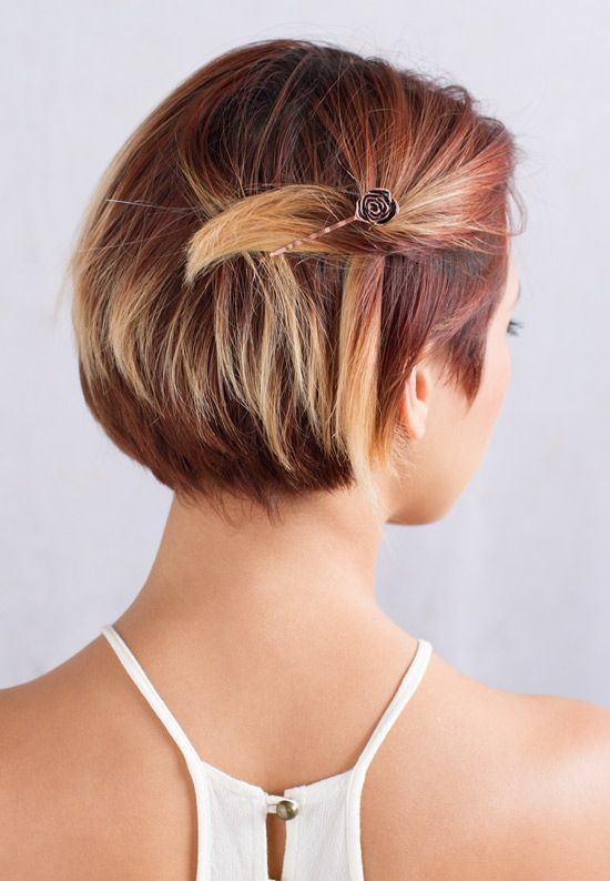 Copper Rose Bobby Pin Perfect Way To Secure A Small Section Of Hair Back For A Side Swept Style In Her Short Hair Updo Bobby Pin Hairstyles Really Short Hair