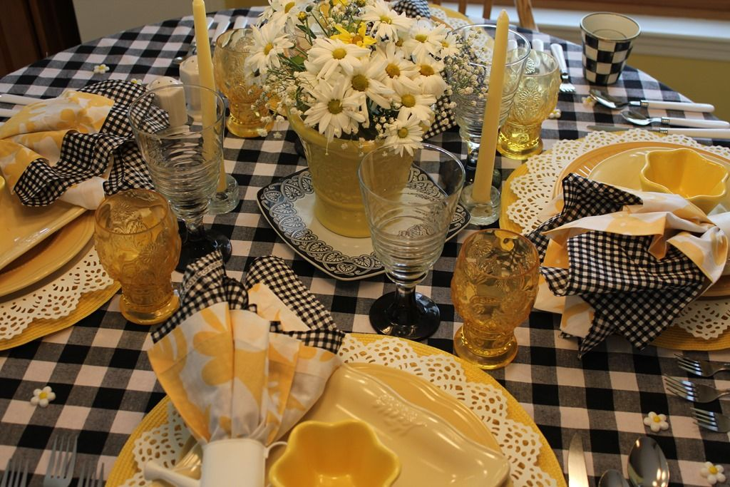 Yellow Black White Black And White Checked Tablecloth