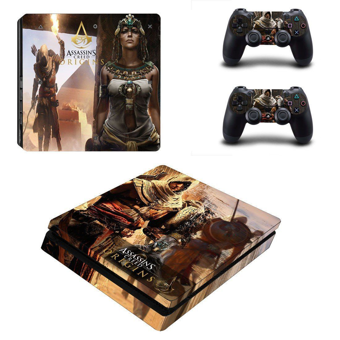 Assassin's Creed Origins ps4 slim skin decal for console and 2 controllers