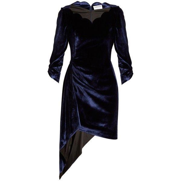 Cheap Sale Professional Aileen scallop-edged asymmetric velvet dress Osman Discount Footlocker Sale 100% Guaranteed OBGtkThX