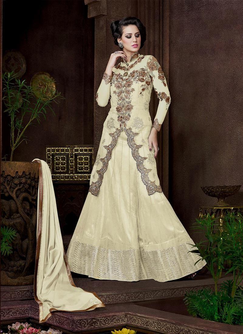 Gilded off white designer lehenga choli a line lehenga choli