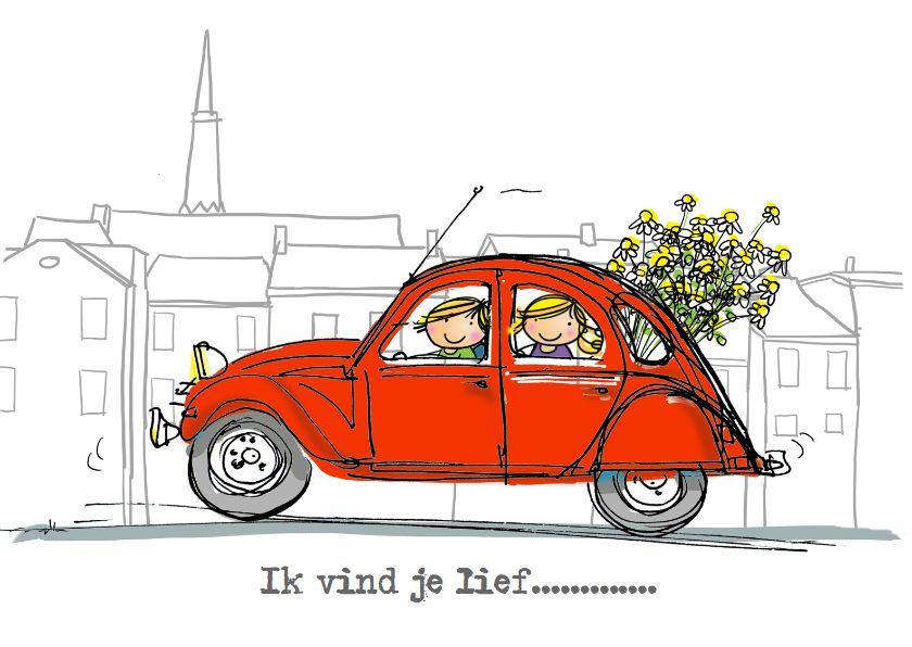Rode Eend 2cv Met Bos Bloemen Zomaar Kaarten Kaartje2go Auto Tekeningen Illustraties Eend