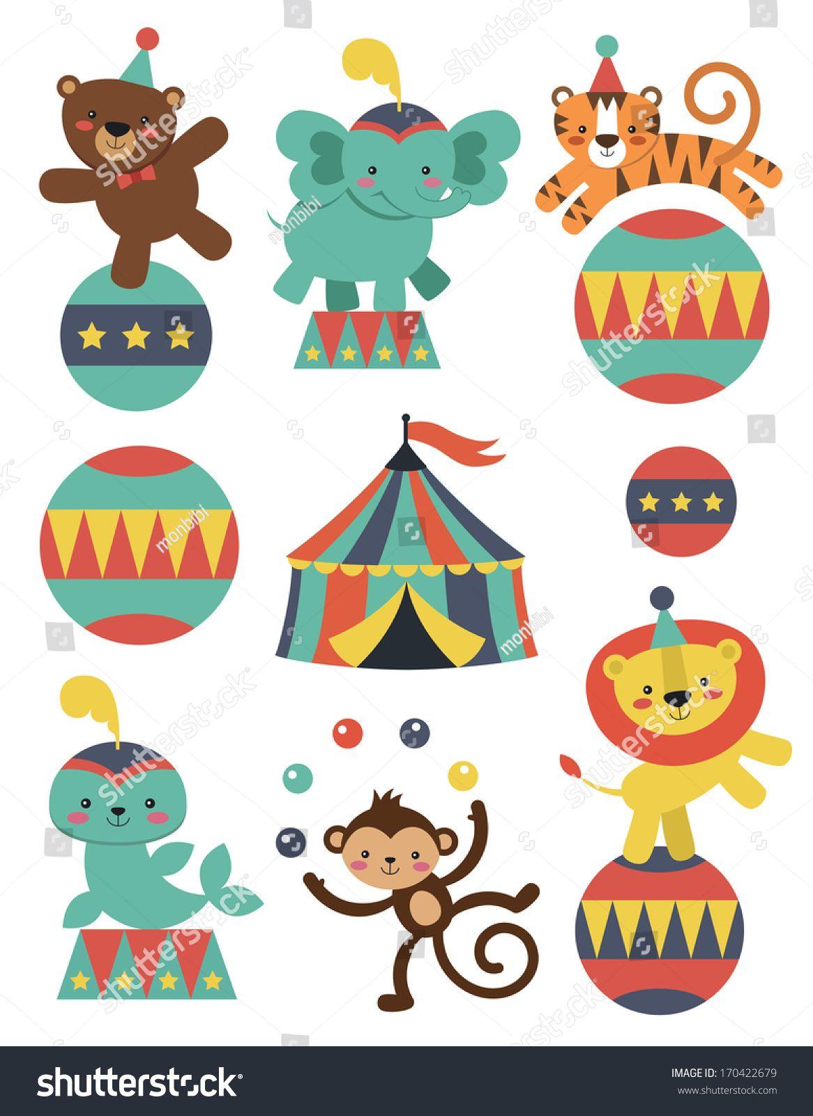 Cute Circus Animals Collection Vector Illustration Circus Illustration Circus Animals Doodle Background