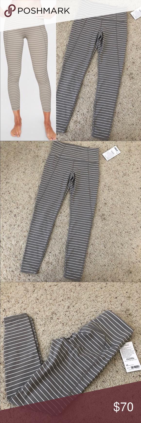 73d43bc227c0f Athleta Stripe Salutation 7/8 Tight NWT Size XSMALL Silver grey stripe  (actually more tan) High rise 7/8 length Powervita Athleta Pants Leggings