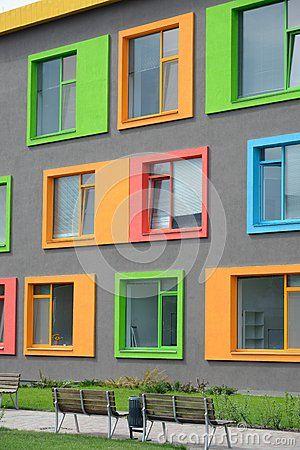 Colorful facade of the school of arts school for Exterior design school