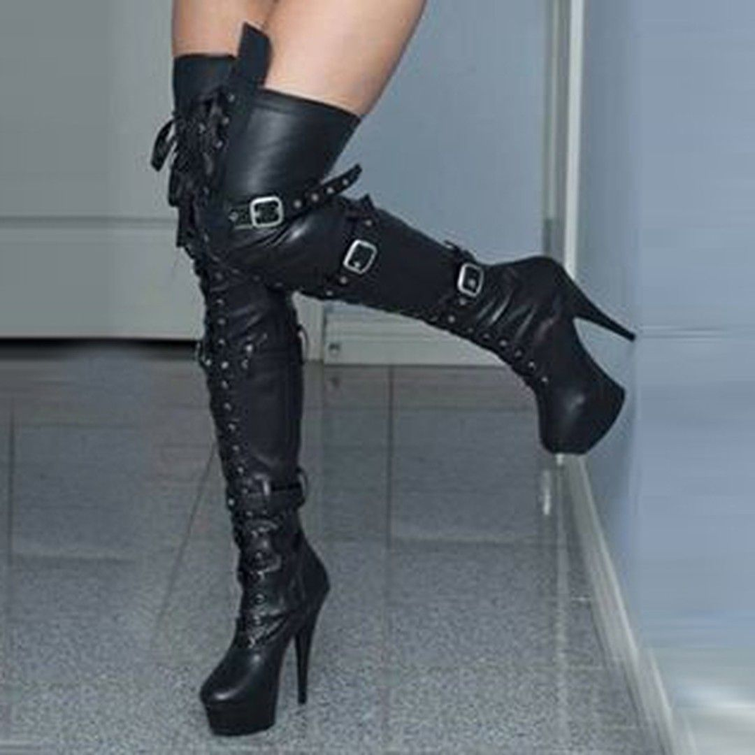 31e7815c0bd8 Shoespie Sexy Lace up Buckles Over Knee High Boots