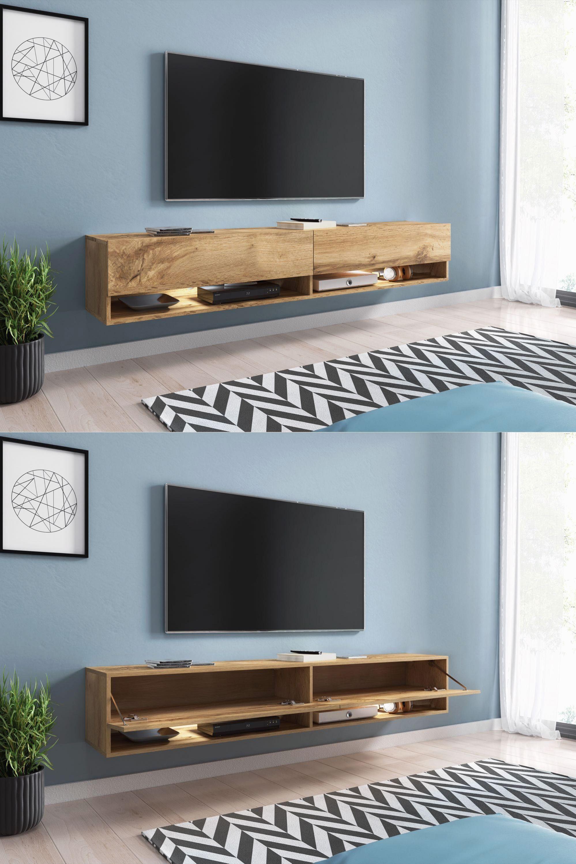 Sober And Especially Trend Piece Of Furniture Tv Hifi Suspension Design Acapulco Has A Large Storage Capaci En 2020 Deco Meuble Tv Deco Meuble Tele Meuble Tv Design