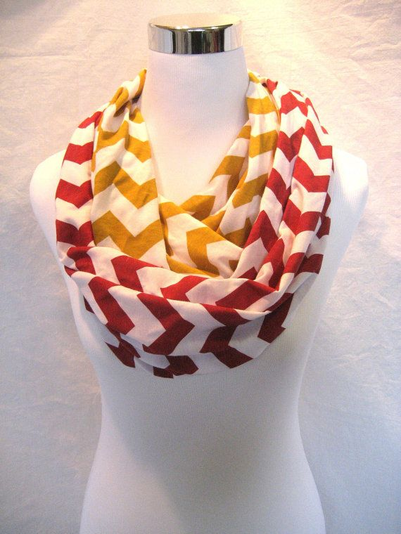 52674f8f632 LONG Red and Gold Chevron colorblock Infinity Scarf #49ers by ...