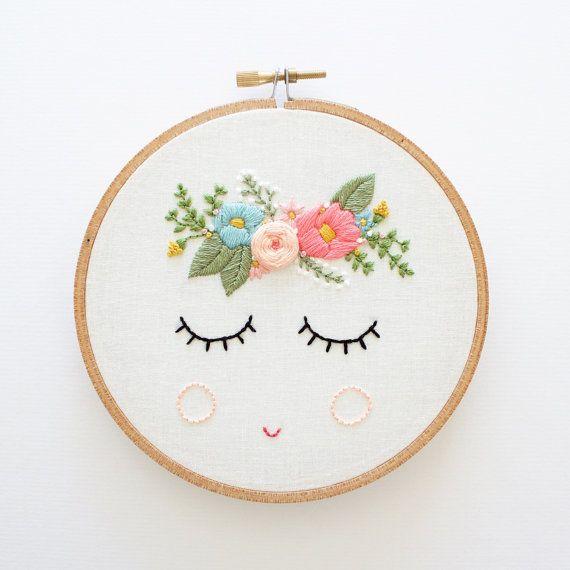 Pdf Digital Download Posy Embroidery Pattern Floral Embroidery Pattern Sleepy Face Patroned De Bordado A Mano Ideas De Bordado A Mano Puntos Bordados A Mano