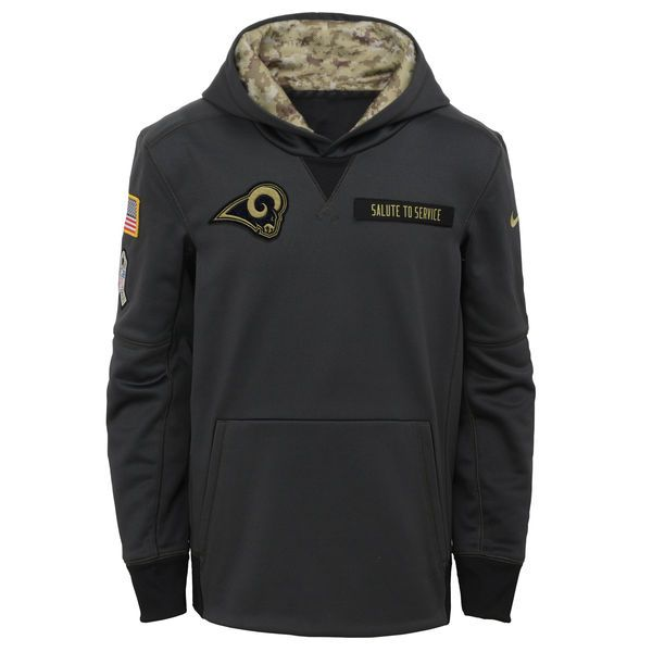 Youth Los Angeles Rams Nike Charcoal Salute to Service Performance Pullover  Hoodie 3272c5438