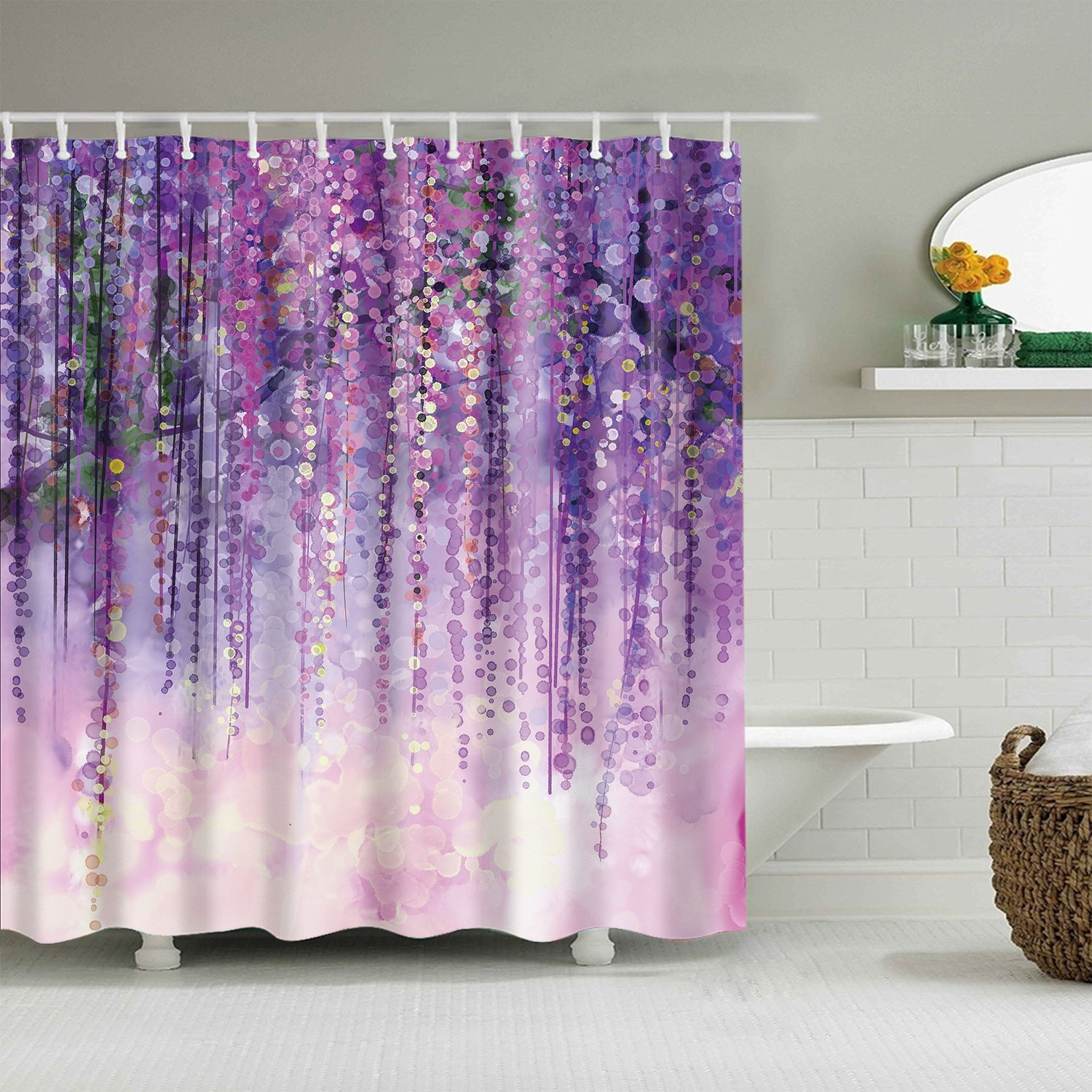 Bokeh Violet Color Ivy Flower In Blossom Wisteria Shower Curtain