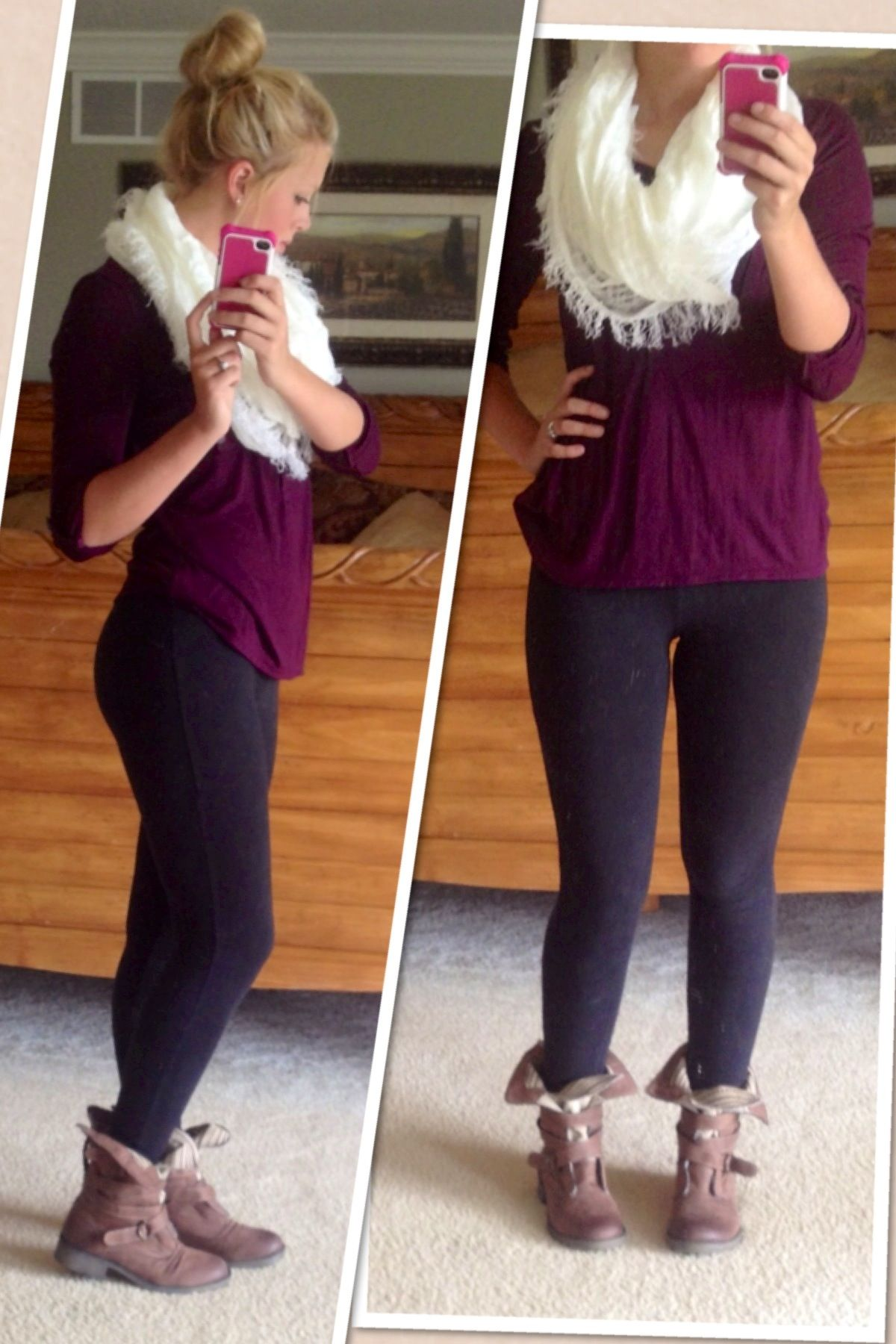 fall fashion. combat boots, black leggings, purple shirt, cream ...