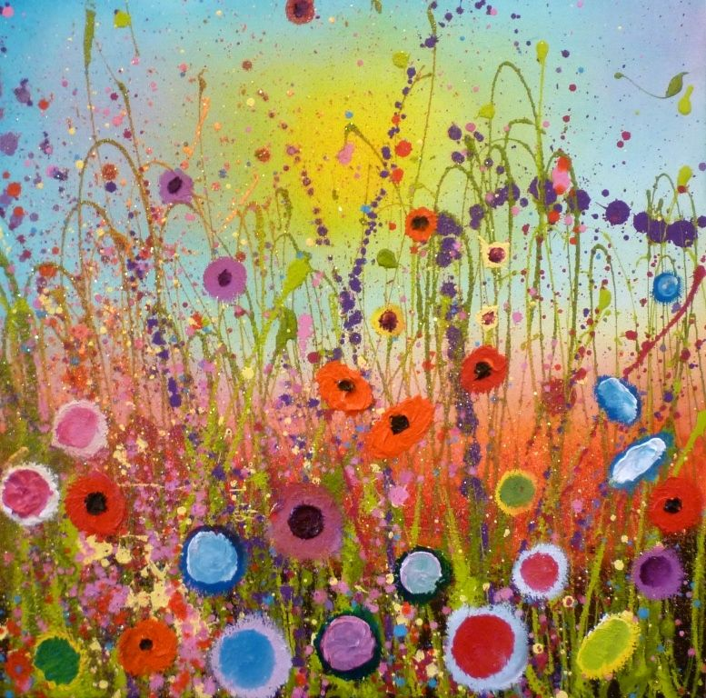 'Wild flowers dance' by Yvonne Coomber, mixed media on canvas £650 (pay over 10 months with own Art) www.lyndhurstgallery.co.uk