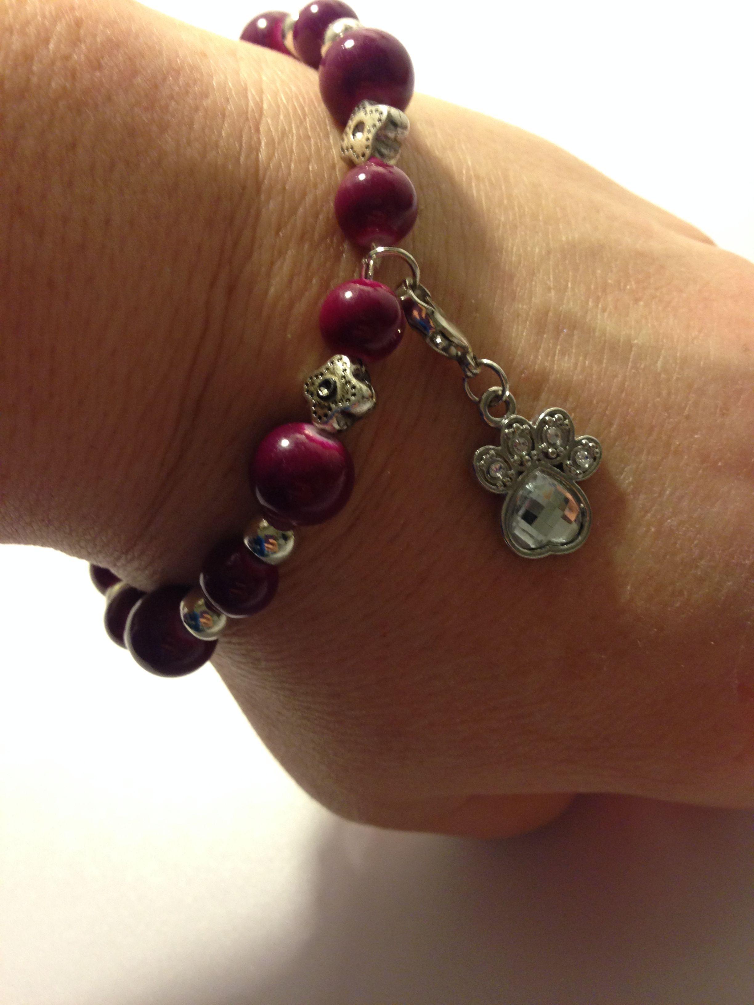Beaded Bracelet with Paw Print Charm