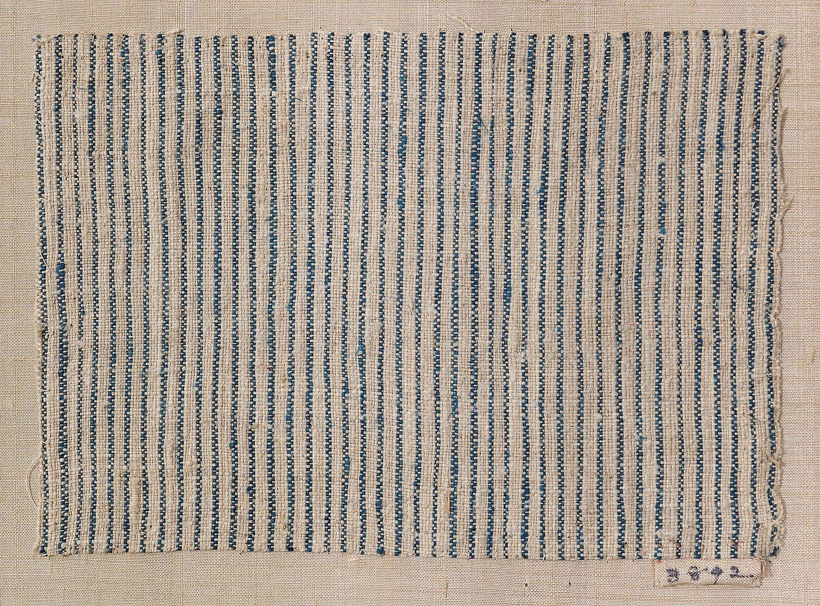 American | Blue and white striped textile fragment