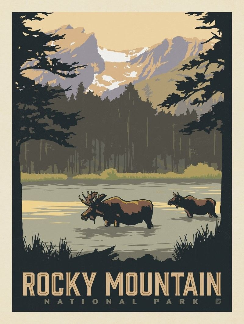 Anderson Design Group American National Parks Rocky Mountain National Park Sprague Lake National Park Posters Vintage Posters Vintage Travel Posters