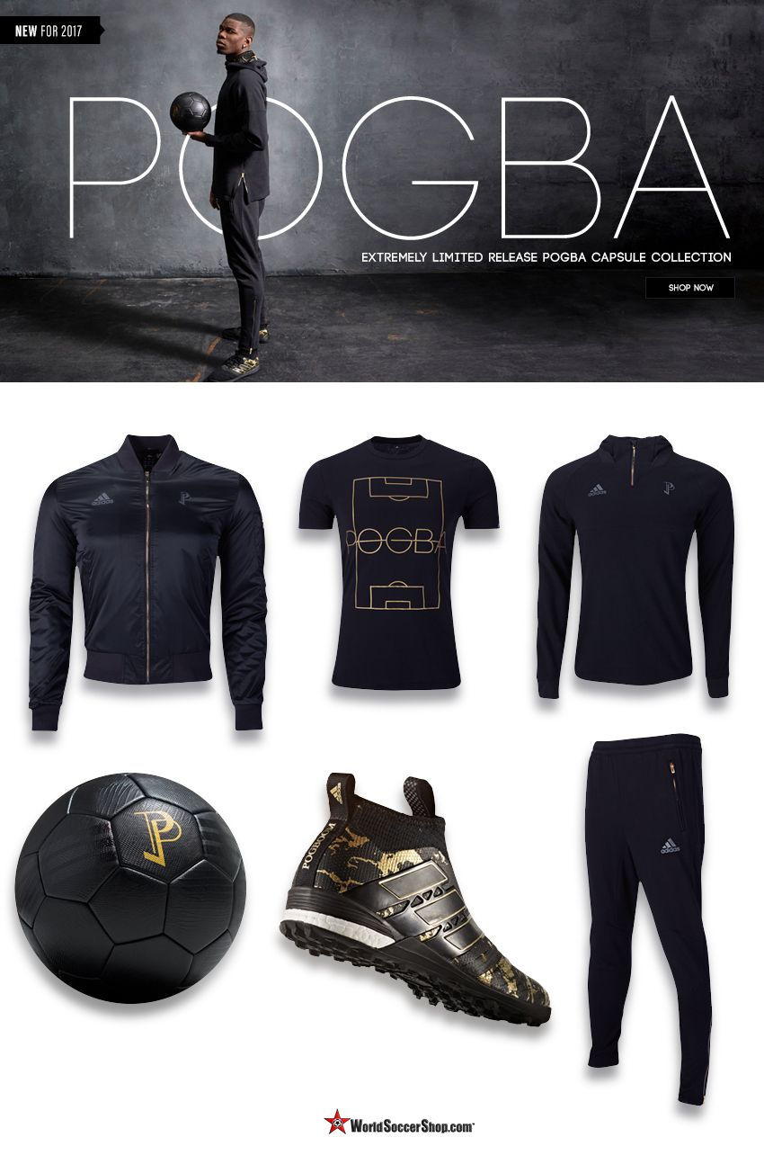Introducing the Adidas x Paul Pogba Collection. The black and gold range  includes both on and off-pitch styles and the new Pogba Ace 17+ Pure  Control. a94b30feae79
