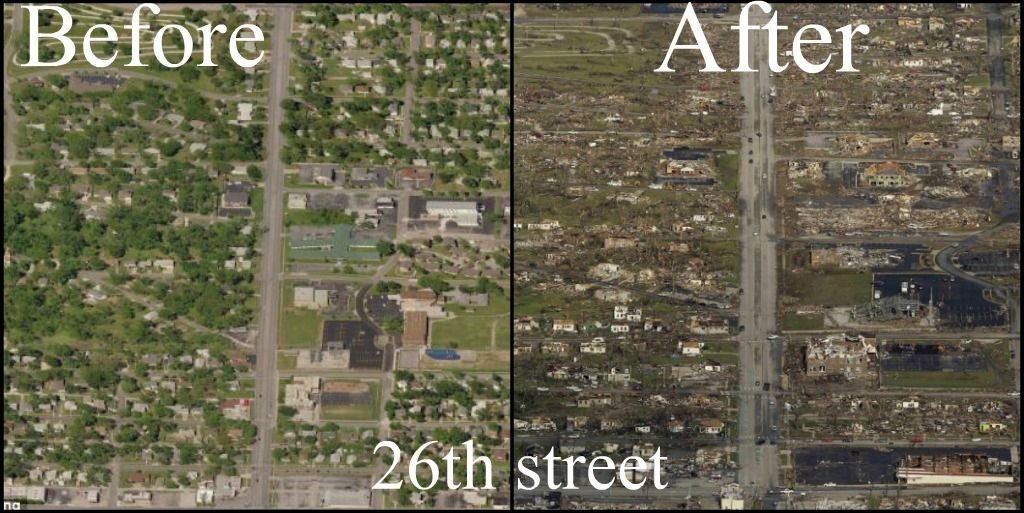 26th Street In Joplin Missouri Before And After The F5 Tornado On May 22 2011 Joplin Missouri Joplin Natural Disasters
