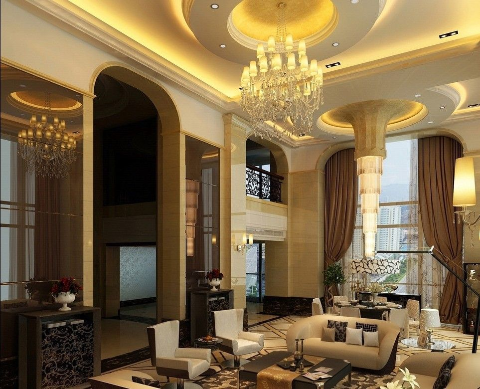 Luxury villa living room design with amazing ceiling for Living room decor 2015