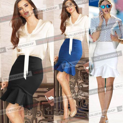 Womens-Club-Party-Business-Casual-Bodycon-Fitted-Stretch-Mermaid-Mini-Skirt-025