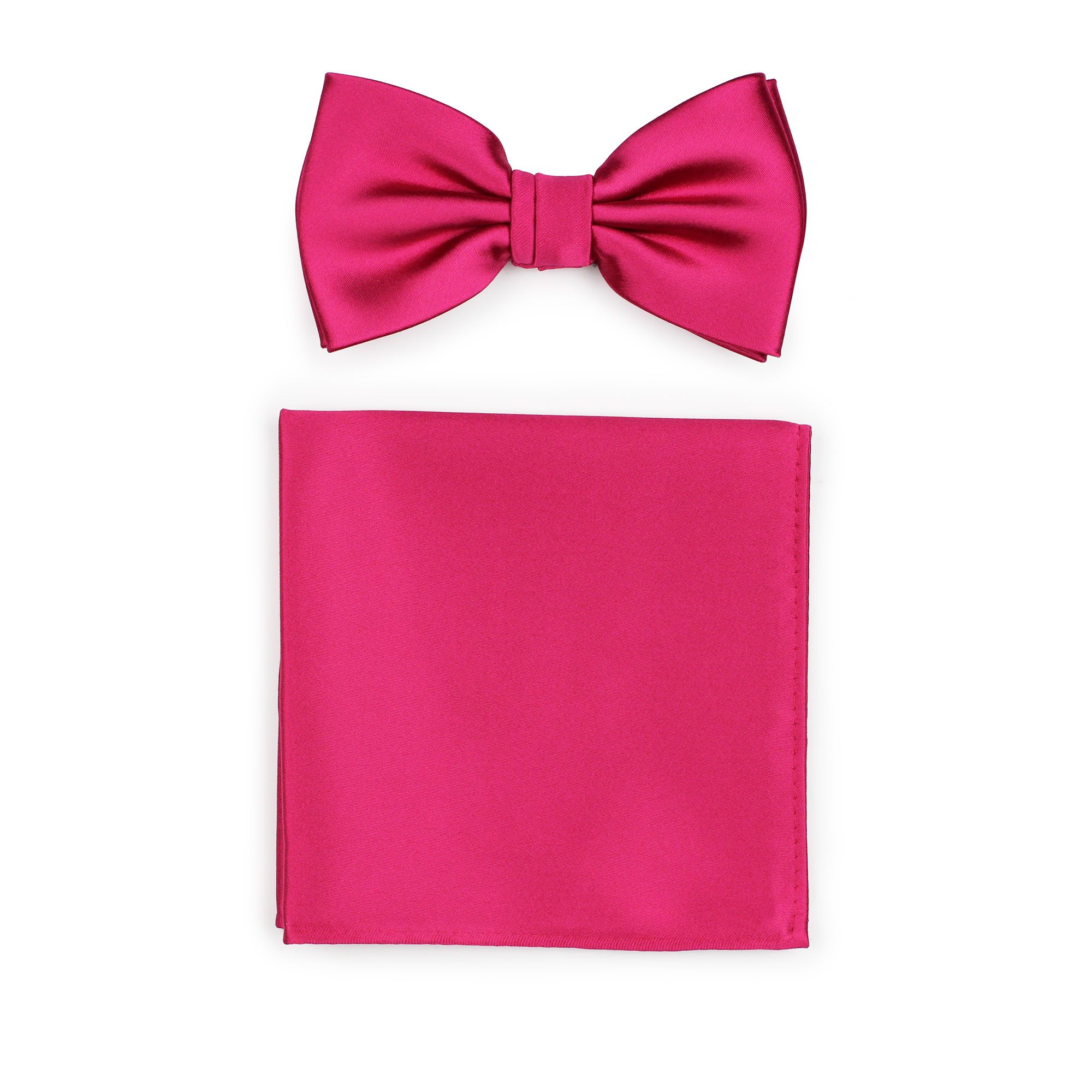 Bright Pink Necktie and Pocket Square