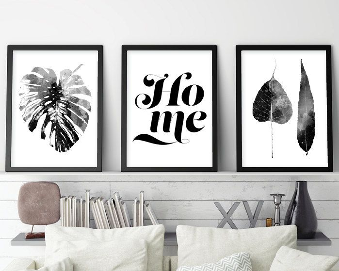 Set of 3 prints scandinavian set 3 scandinavian print set monstera black white scandinavian modern print set downloadable printable by