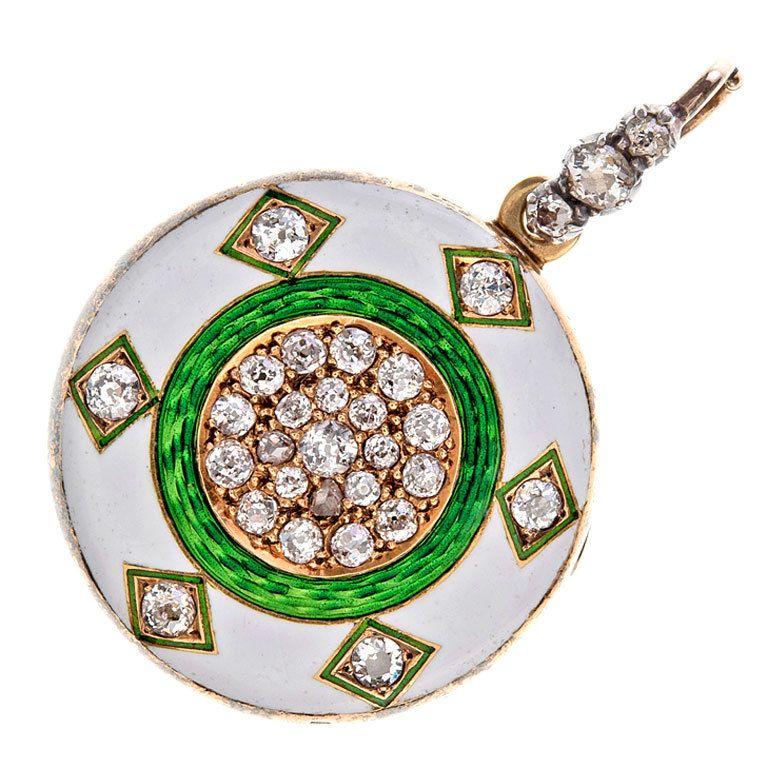 Victorian Enamel and Diamond Locket/Pendant in Yellow Gold
