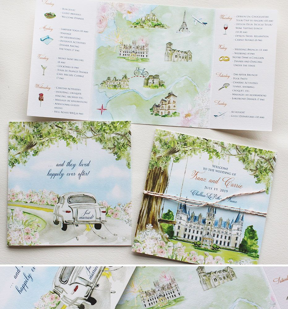 Carrie V Watercolor France Wedding Save The Date Painted Wedding Invitation Watercolour Wedding Stationery Map Wedding Invitation