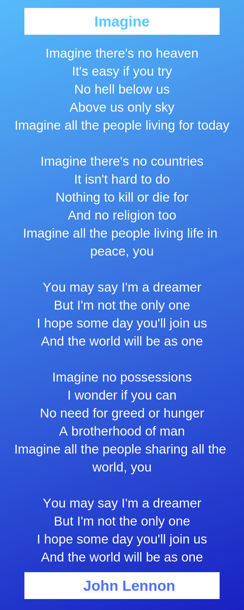 Imagine Poem By John Lennon Summary And Analysis Imagine John Lennon Imagine John Lennon