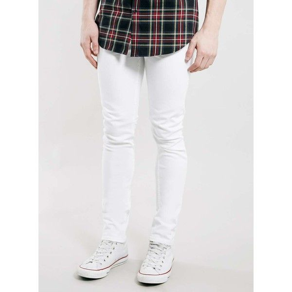TOPMAN White Stretch Skinny Jeans ($43) ❤ liked on Polyvore ...