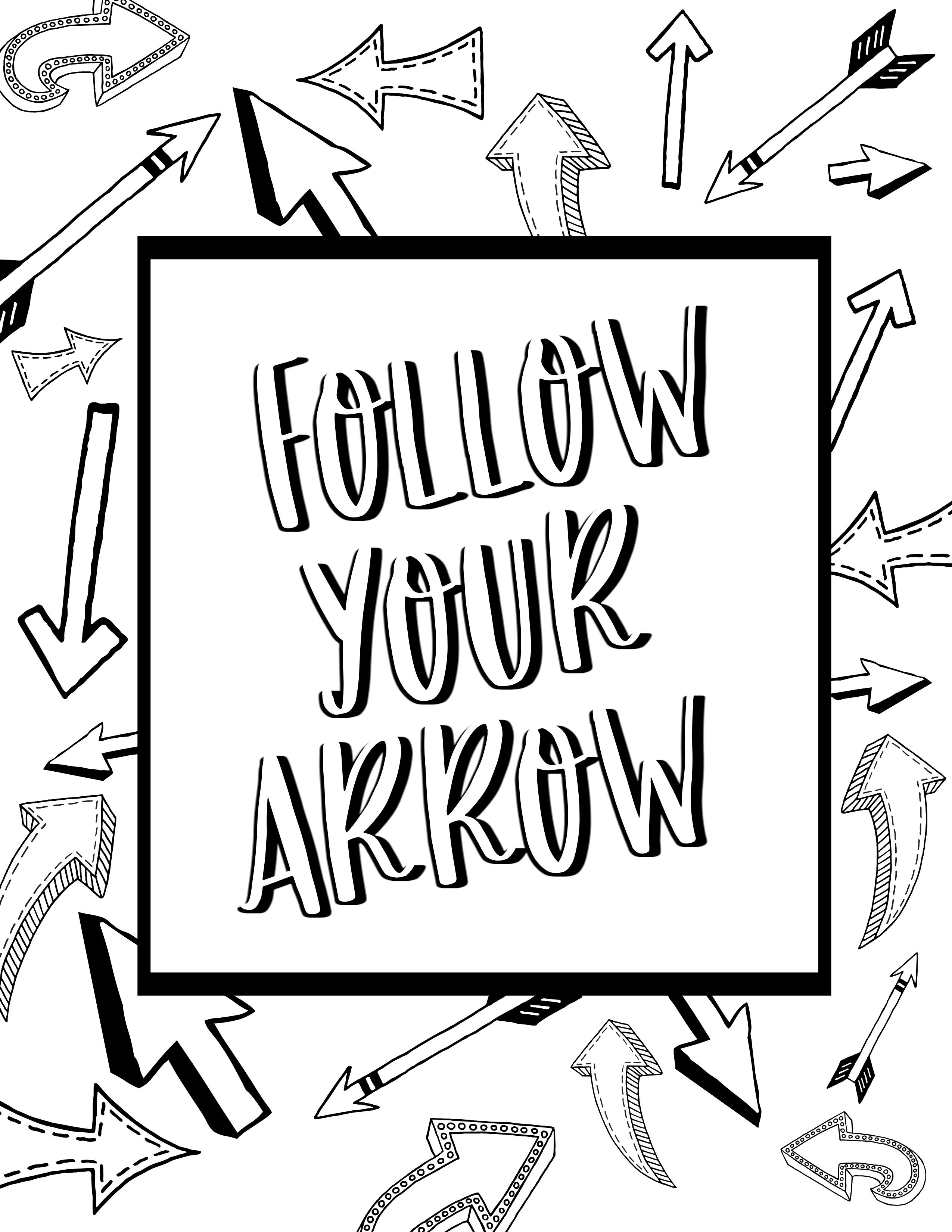 Follow your arrow coloring page! Find free adult coloring