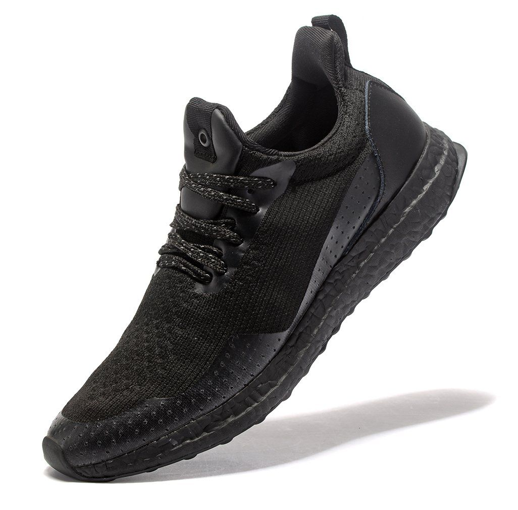 Vicsoon Mens Casual Fashion Sneakers  Breathable Athletic running Shoes Textile Rubber Black