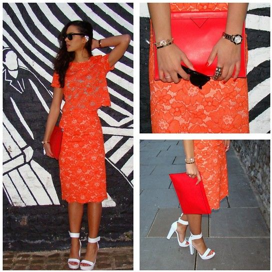 Orange Lace Pencil Skirt | Jill Dress