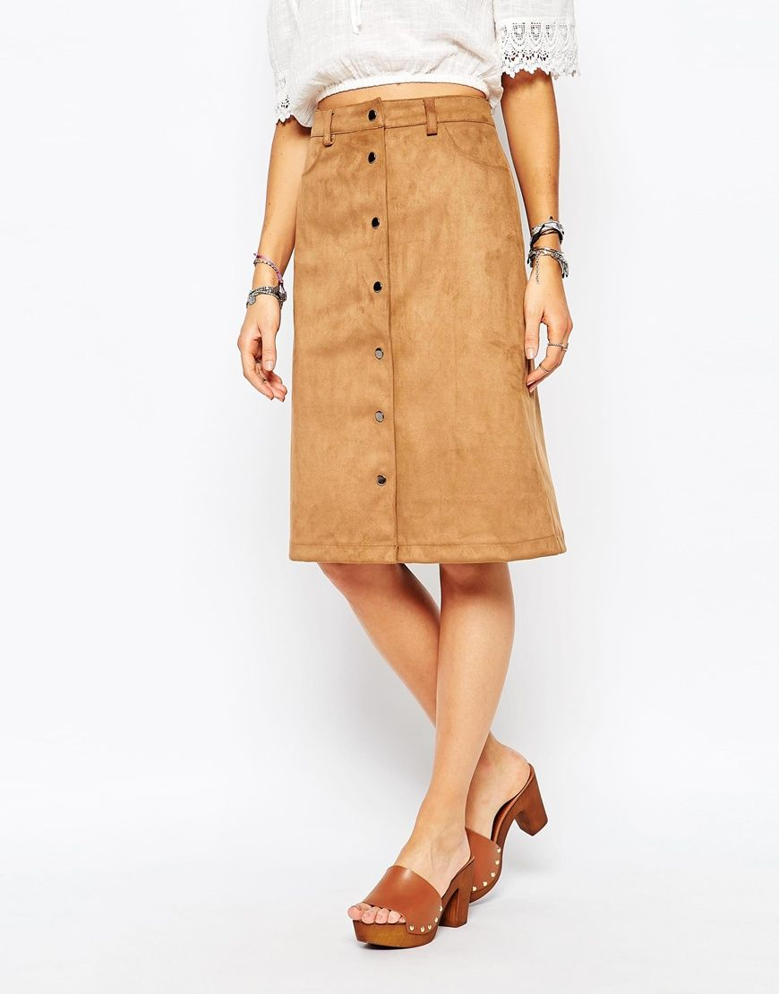 Midi A-line skirt in beige suede | clothes | Pinterest | Button ...