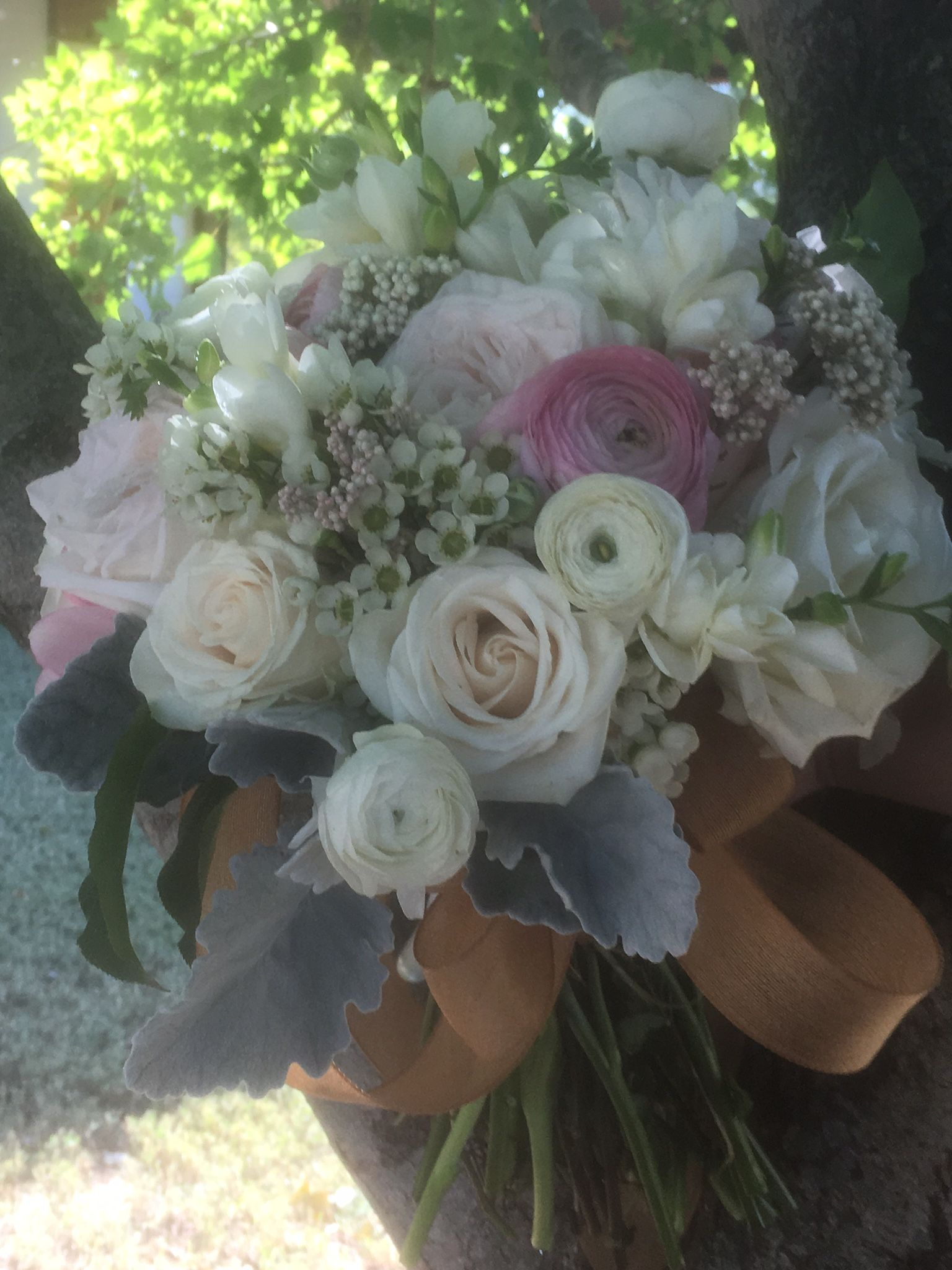 O Hara Garden Roses And Tibet Roses Ranunculus Wax Flower And Dusty Miller Wedding Flowers Bride Bouquets Wax Flowers