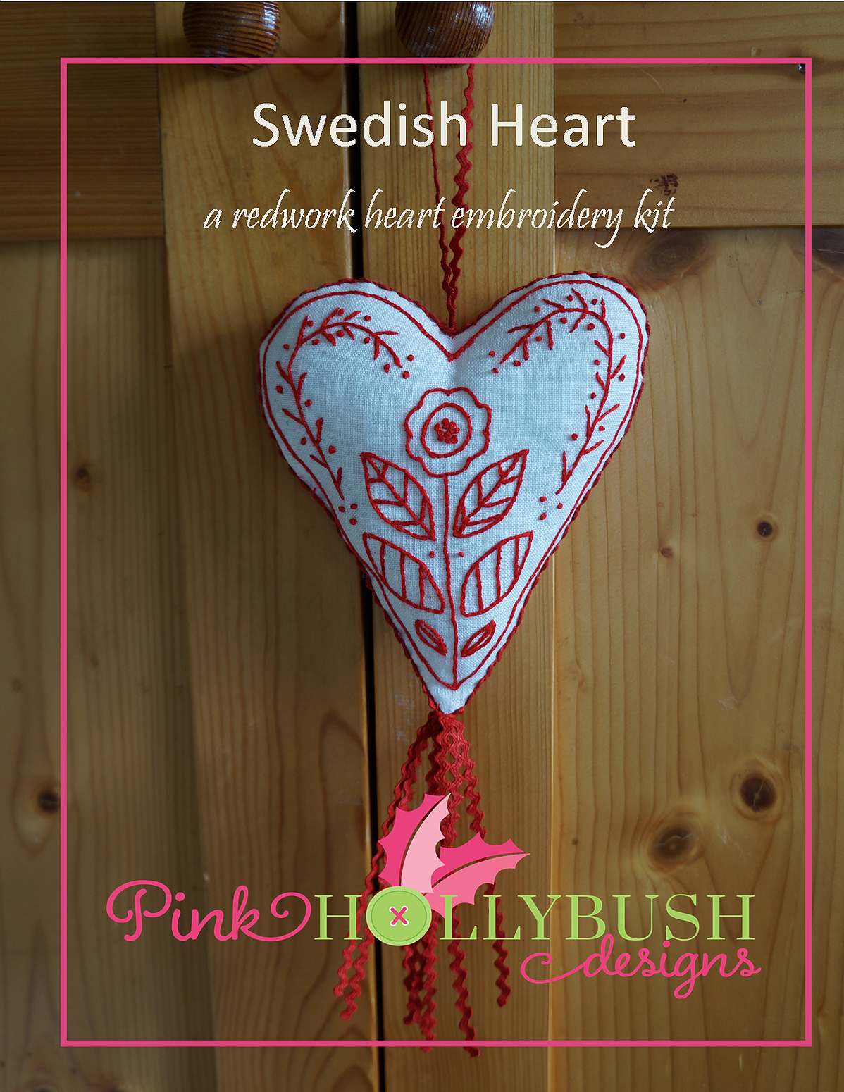 Swedish Heart a Redwork Embroidery Kit and Pattern to