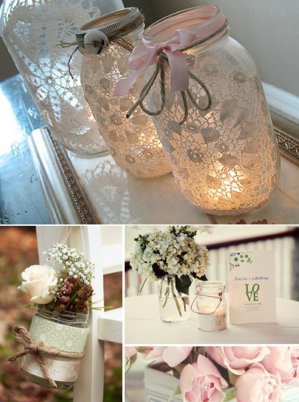 Mason Jar Ideas Wedding Ideas Wedding Trends And Wedding Galleries Mason Jar Wedding Mason Jar Diy Lace Mason Jars