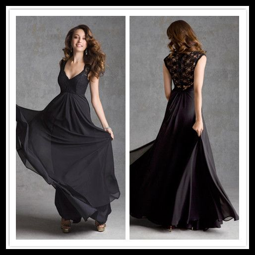 floor length a line black dress