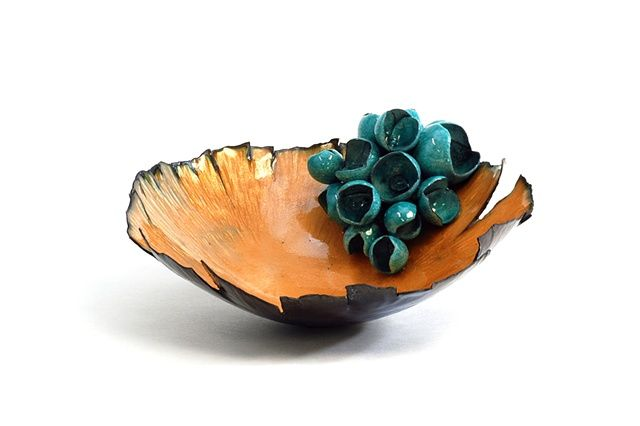Growth by Tina Lazzarine ||  Enameled bowl, 2011  - copper, enamel, copper mesh
