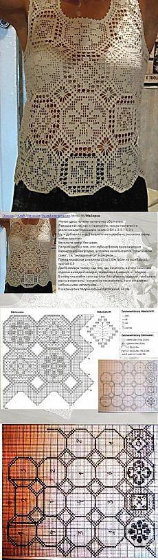 Белая кофточка.Филейное вязание / Вязание крючком / Женская одежда крючком. Схемы.