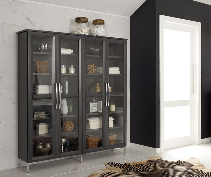 Sleek Bathroom Storage. Modesto Door Style, Maple Wood in ...