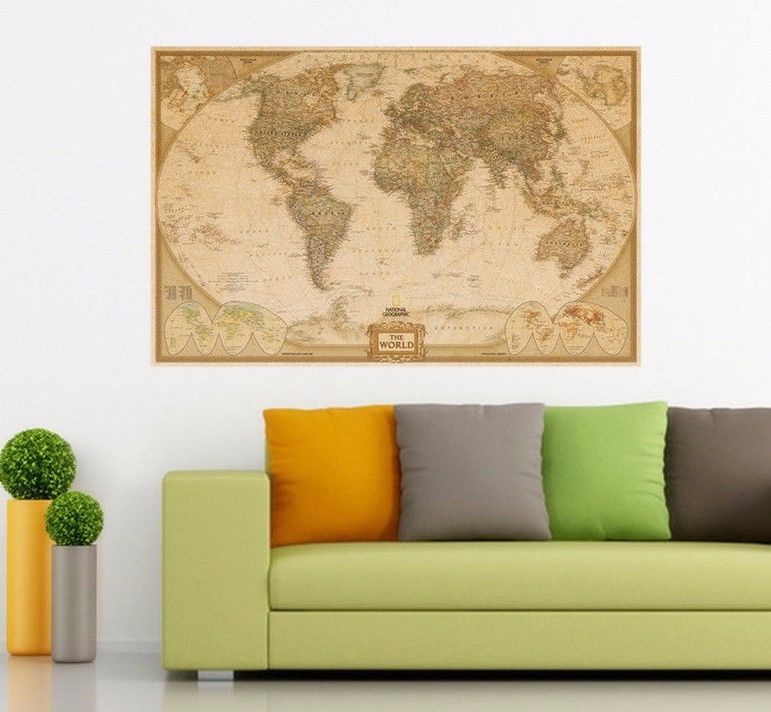 EXTRA Large THE WORLD MAP Vintage Poster Fancy Retro wall Home Decor ...