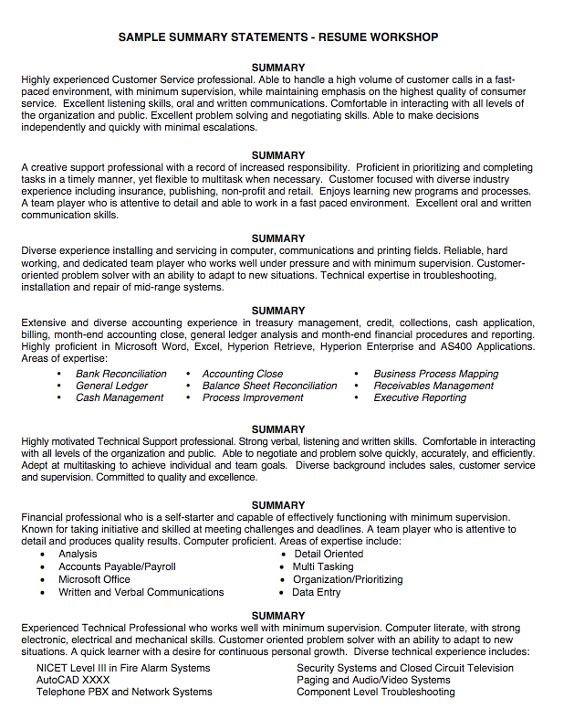 Sample Resume Summary Sample Summary Statement Resume  Httpexampleresumecv
