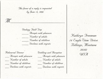 wording for wedding invitation response cards - Wedding Invitation Response Card